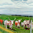 Longhorns near Millet (16 x 20)